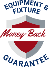 Equiptment and fixture money back gurarantee badge